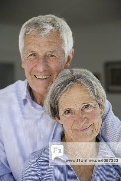 Germany  Bavaria  Senior couple smiling  portrait