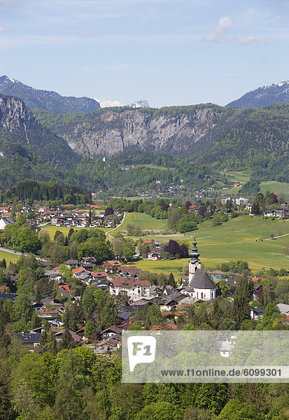 Germany  Bavaria  View of Bayrisch Gmain with Latten mountains in background