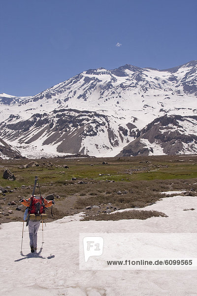 Frau  Berg  Ski  wandern  Anden  Chile