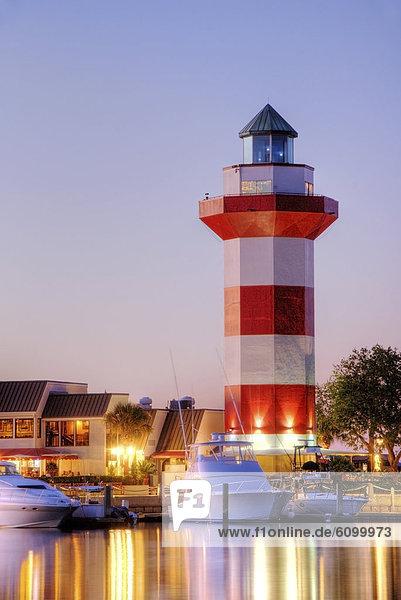 Hafen  Stadt  Wahrzeichen  Leuchtturm  Insel  Abenddämmerung  South Carolina