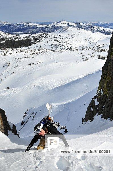 A female skier climbs up a steep couloir in the winter near Carson Pass in the Sierra Nevada  CA.
