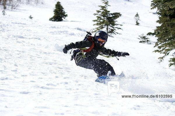 Snowboarding  Fröhlichkeit  Tag  Junge - Person  unbewohnte  entlegene Gegend  Kalifornien