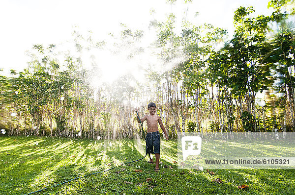 Wasser  Junge - Person  besprühen  Cook-Inseln