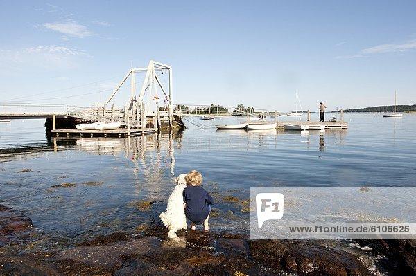 Junge - Person  Hund  Dock  angeln  Fischer  Schiffswache