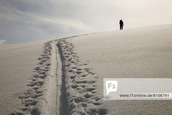 Spur  Skifahrer  Silhouette  unbewohnte  entlegene Gegend  vorwärts  Schnee