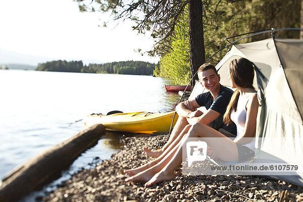 lächeln  Reise  camping  Kajak  2  jung  lachen  Idaho