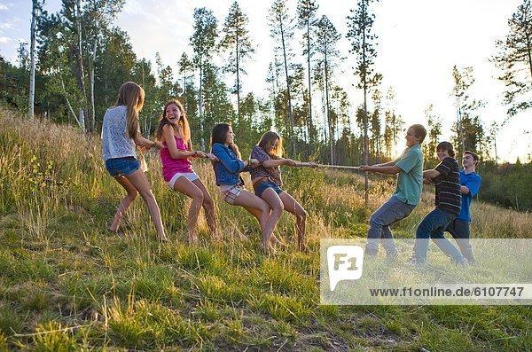 Junge - Person  Sommer  Spiel  Mädchen  Nachmittag  lachen  Tauziehen