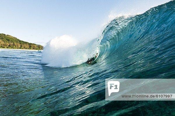 ziehen  Bodyboard  Cook-Inseln  Rarotonga  Wasserwelle  Welle