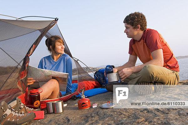 Felsen  Küste  Zelt  camping