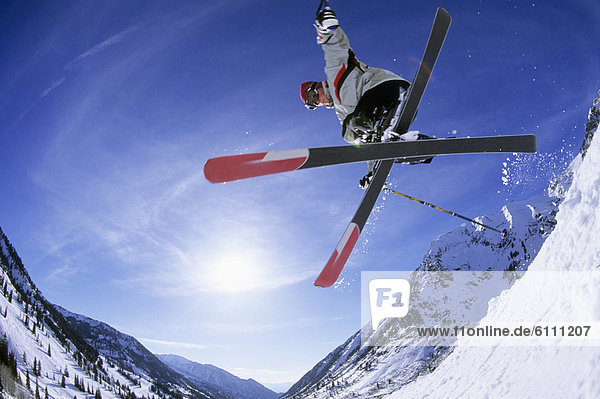 Man skiing at Snowbird  Utah