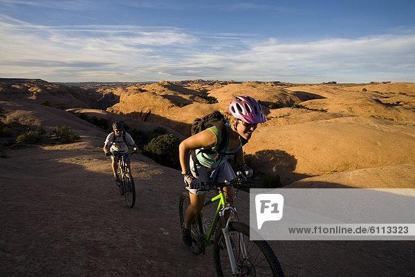 Mountainbikefahrer  Moab  Utah