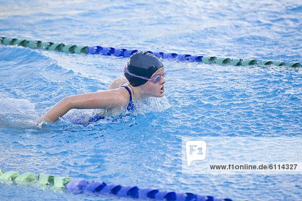 Girl swimming in San Francisco  California.