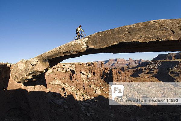 Mountain biker crossing sandstone bridge  Canyonlands  Utah (fisheye lens).