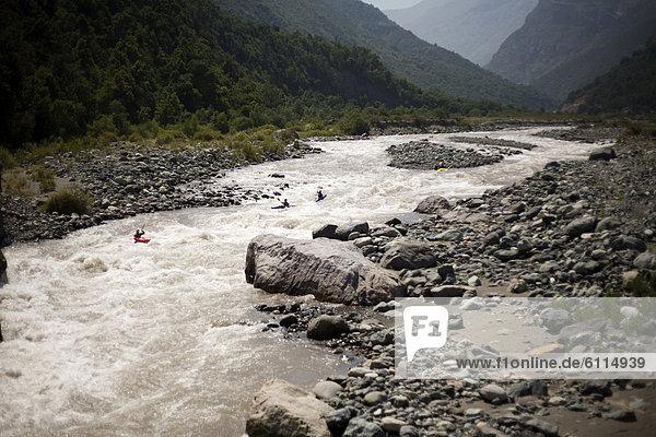 4  Fluss  Paddel  Kajakfahrer  Wildwasser  Chile