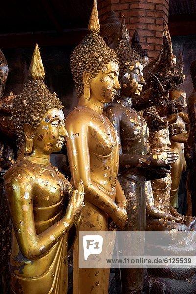 Thailand - Ayutthaya  Wat Yai Chaya Mongkol Temple  golden Buddha statues