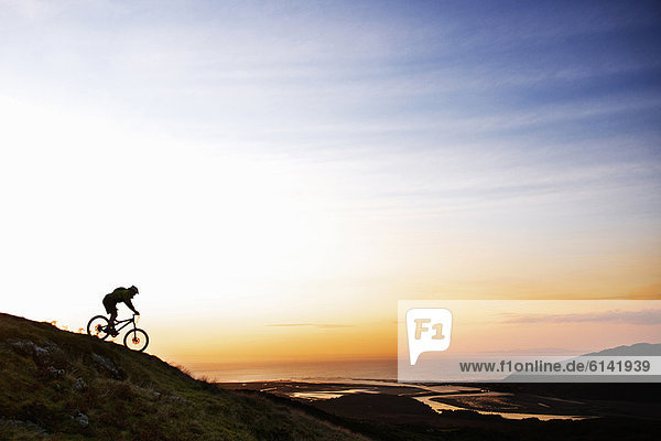 Mountainbiker beim Bergabfahren