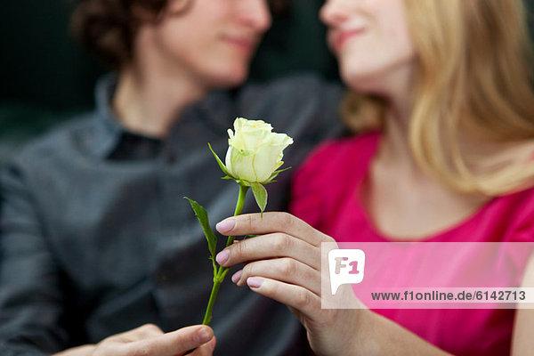 Mann schenkt der Frau Rose