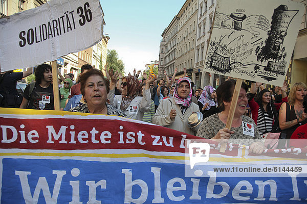 Hundreds of people taking part in a noise demonstration to protest against rising rents  Berlin  Germany  Europe