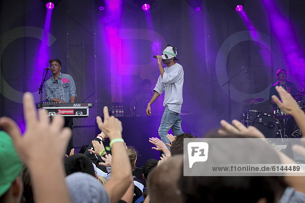 Rapper Cro  real name Carlo Waibel  from Stuttgart  wearing his usual panda mask  at the Greenville Music Festival  Paaren im Glien  Brandenburg  Germany  Europe