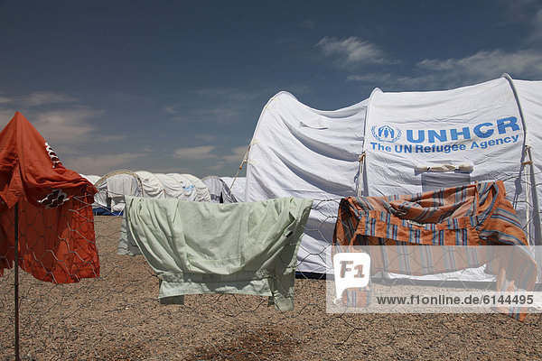 First reception refugee camp set up by the UNHCR  United Nations  directly at the Libyan-Tunisian border  Ras al-Jedir  Tunisia  Africa