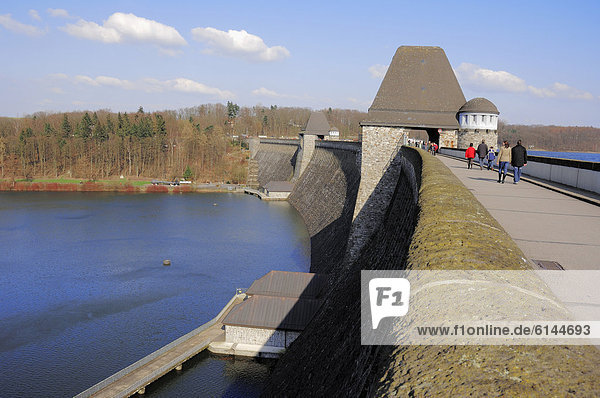 Dam of the Moehne reservoir  North Rhine-Westphalia  Germany  Europe  PublicGround