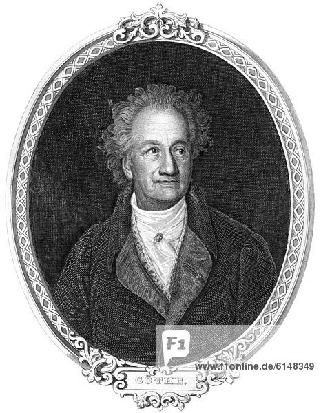 Historic steel engraving from the 19th century  portrait of Johann Wolfgang von Goethe  1749 - 1832  a German poet
