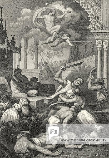 Historischer Stahlstich  Schlachtengemetzel  Illustration zu Oberon  ein Versepos von Christoph Martin Wieland