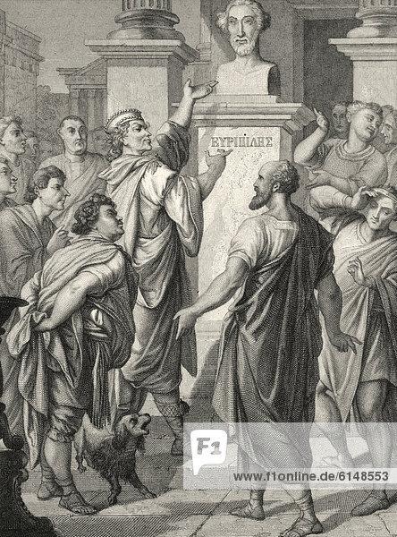 Historischer Stahlstich von Ferdinand Rothbart  1823 - 1899  ein deutscher Illustrator  antike griechische Stadt Abdera  Szene aus Die Abderiten  von Christoph Martin Wieland