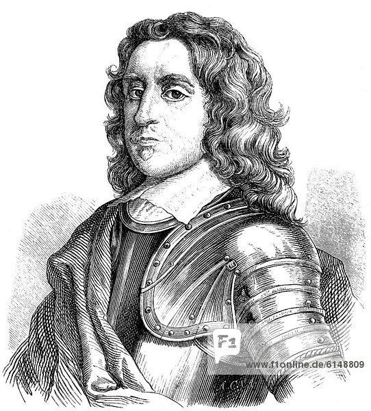 Historischer Holzschnitt aus dem 19. Jahrhundert  Portrait  der Gründer der englischen Republik  Oliver Cromwell  1599 - 1658  Lordprotektor von England  Schottland und Irland  Feldherr des Parlamentsheeres  17. Jahrhundert