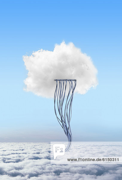 Cloud connected to cables in sky