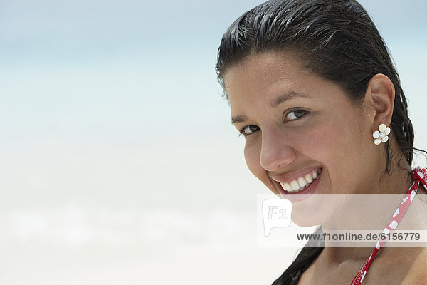 South American woman at beach