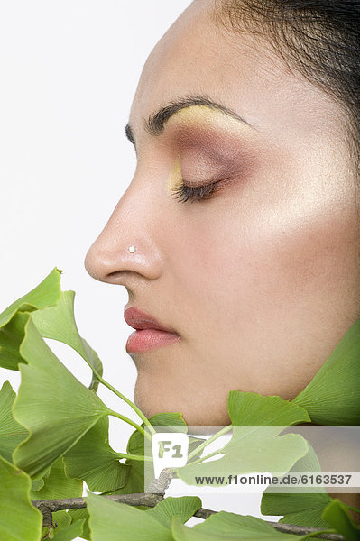 Frau  Pflanze  Indianer  Ginkgobaum  Ginkgo biloba