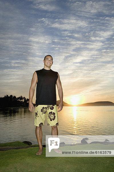 Wasser  Mann  Sonnenuntergang