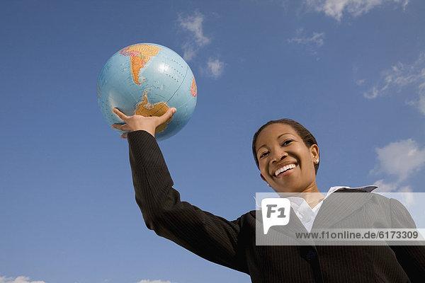 Geschäftsfrau  halten  Globus Geschäftsfrau ,halten ,Globus