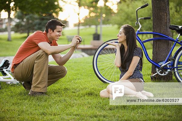 Europäer  Mann  Fotografie  nehmen  Ehefrau