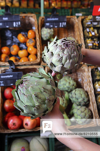 Artischocken  Lebensmittelabteilung  Supermarkt  Deutschland  Europa