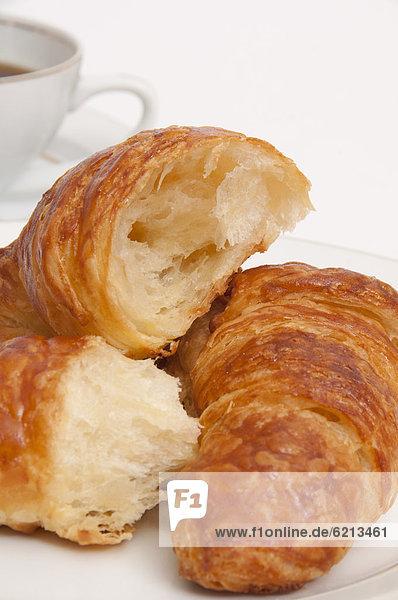 hoch  oben  nahe  Frische  Croissant