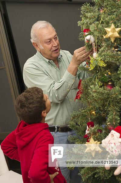 sehen  Junge - Person  Baum  Hispanier  Weihnachten  Großvater  schmücken