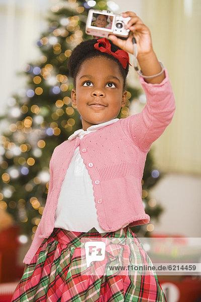 nehmen  Weihnachten  Selbstportrait  Mädchen