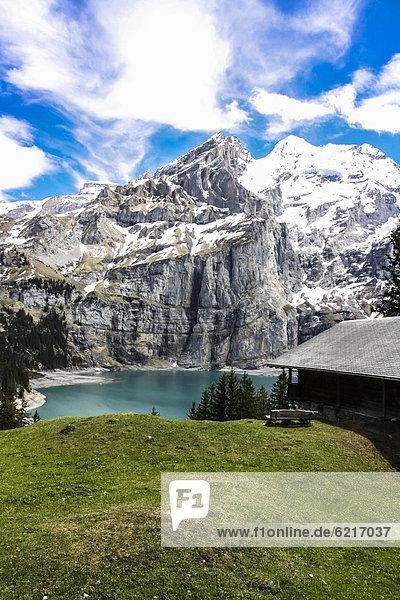 Europa See Alpen Ansicht Berner Oberland Schweiz Kanton Bern