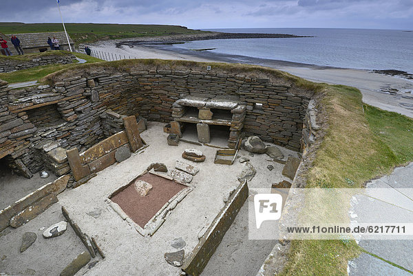 Skara Brae  auch Skerrabra  jungsteinzeitliche Siedlung  zwischen 3100 und 2500 v. Christus  Orkney Inseln  Schottland  Großbritannien  Europa