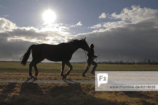 Eine Frau läuft mit ihrem Pferd
