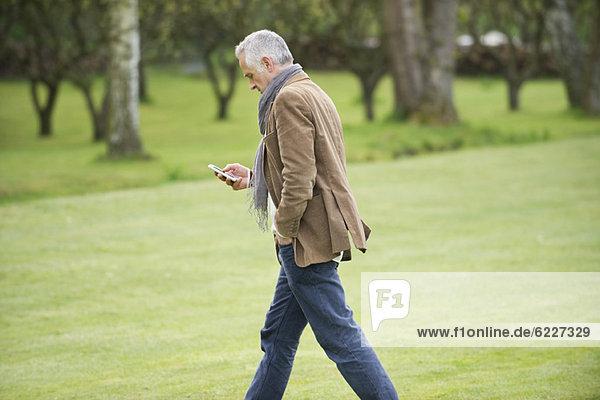 Man Textnachrichten auf einem Mobiltelefon in einem Park