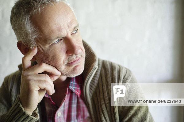 Close-up of a man thinking