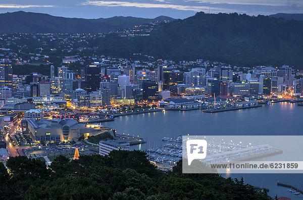 Stadtansicht  Hafen von Wellington in der Abenddämmerung  Neuseeland  Nordinsel
