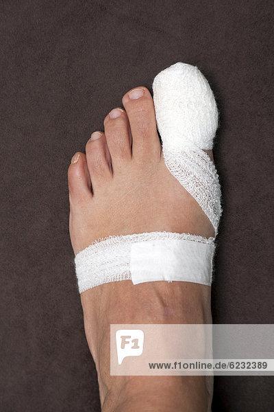 Big toe  bandage  after surgery