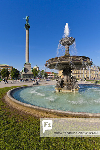 Jubiläumssäule  Brunnen  Neues Schloss  Schlossplatz  Stuttgart  Baden-Württemberg  Deutschland  Europa