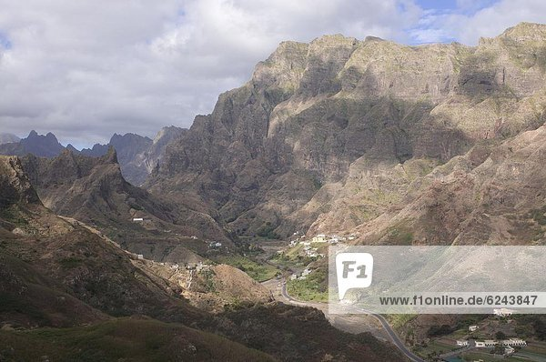 Berg Felsen Landschaft Dorf Insel Afrika