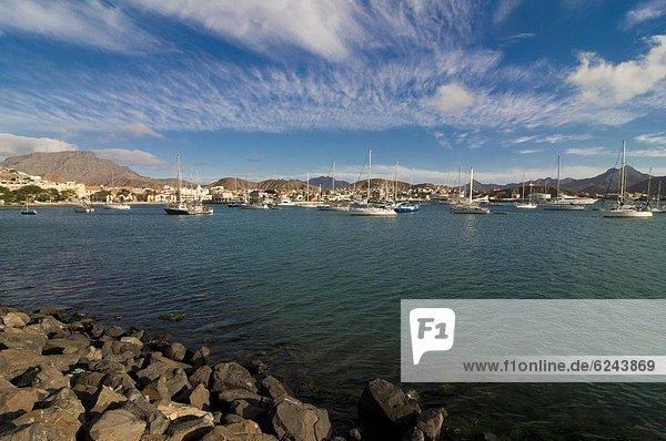 Hafen  über  Großstadt  angeln  Ansicht  Atlantischer Ozean  Atlantik  Afrika