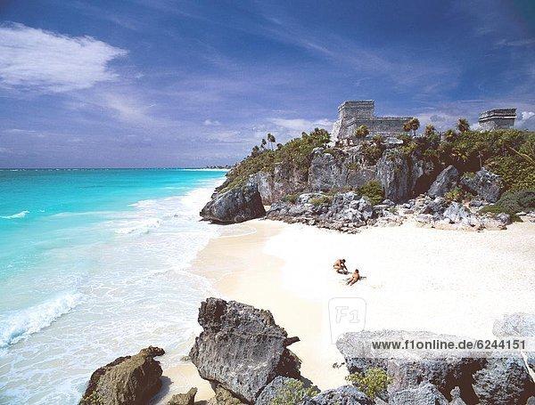 Strand  Meer  Ruine  Ignoranz  Nordamerika  Karibik  Mexiko  Maya  Tulum  Halbinsel Yucatan